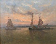 Romain STEPPE - Pintura - Crépuscule Sur l'Escaut , Env. 1905