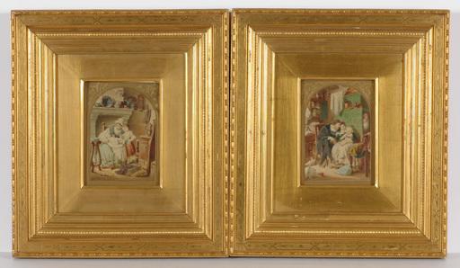 "Eugen Johann Georg KLIMSCH - 水彩作品 - ""Two family scenes"" watercolors, 2.H. of the 19th Century"