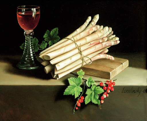 Bernard LONDINSKY - Pintura - Botte d'asperges au verre de vin rosé