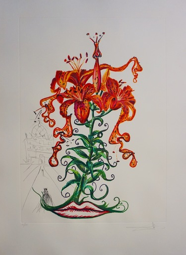 Salvador DALI - Grabado - Florals Tiger Lilies