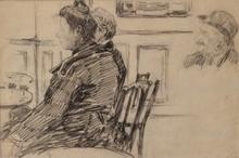 Charles George DUFRESNE - Dessin-Aquarelle - Etude de personnages dans un café