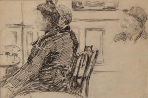 Charles George DUFRESNE - Dibujo Acuarela - Etude de personnages dans un café
