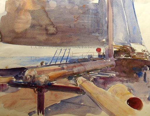 Ulpiano CHECA Y SANZ - Drawing-Watercolor - NU- Bateau