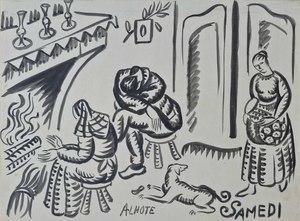 André LHOTE - Dibujo Acuarela - Saturday, Next to the Hearth
