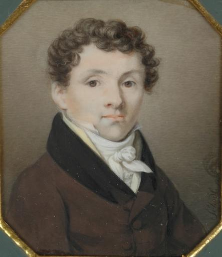 "Heinrich SCHÖDL - Zeichnung Aquarell - ""Portrait of a young Gent"", miniature, 1810"