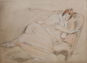 Paul César HELLEU - Zeichnung Aquarell - Femme endormie sur un canapé/Woman sleeping on a sofa