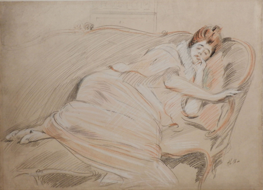 Paul César HELLEU - Dibujo Acuarela - Femme endormie sur un canapé/Woman sleeping on a sofa