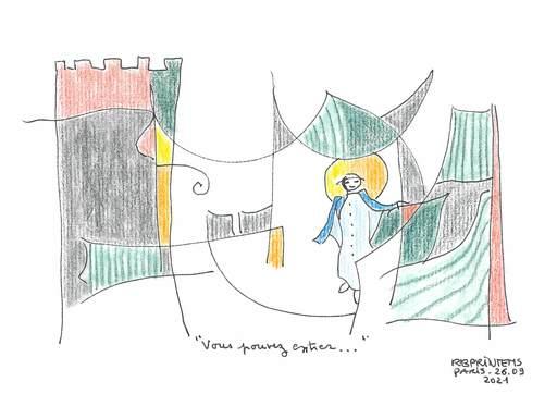 "Reine BUD-PRINTEMS - Zeichnung Aquarell - ""Vous pouvez entrer..."""