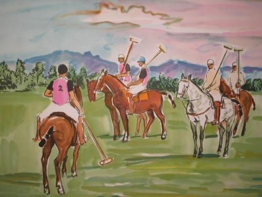Yves BRAYER - 版画 - Les joueurs de polo,1974.