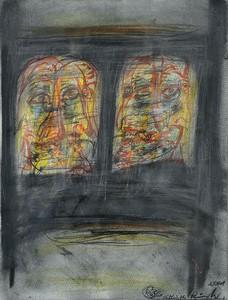 Franz RINGEL - Drawing-Watercolor - (B) 2 Kosmopoliten