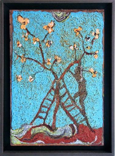 Frédéric COURAILLON - Painting - Enluminure - Arbre en fleurs