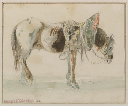 Karl I SCHWENINGER - Dibujo Acuarela - Horse Study, early 19th Century