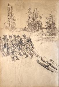 Charles Henri PILLE - Dessin-Aquarelle - Berezina 1812