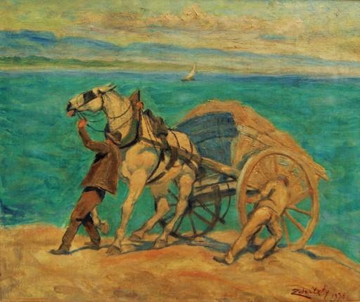 Lorand ZUBRICZKY - Pintura - Scène de charrois sur les bords du lac de Genève.
