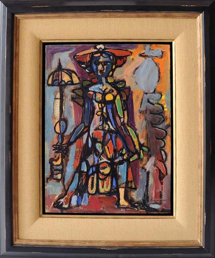 René PORTOCARRERO - Painting - Mujer con Sombrilla