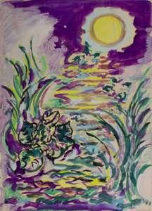 Piero GAULI - Drawing-Watercolor - La rana e la luna