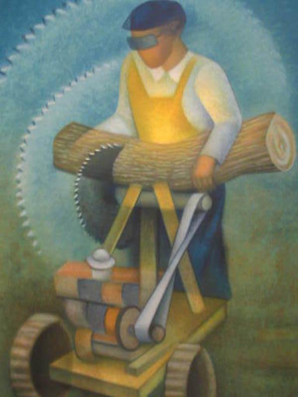 Louis TOFFOLI - Print-Multiple - Le scieur de bois(La scie électrique)1986.