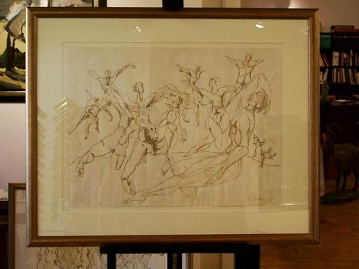 Heinrich BROCKMEIER - Drawing-Watercolor - Menschengruppe
