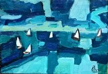 Gerrit BENNER - Pintura - Boten op zee