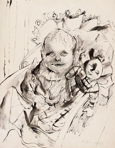 Bruno KRAUSKOPF - Dibujo Acuarela - Kind mit Puppe
