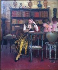 Georges CROEGAERT - Painting - Die nachdenkende Schreiberin, top quality