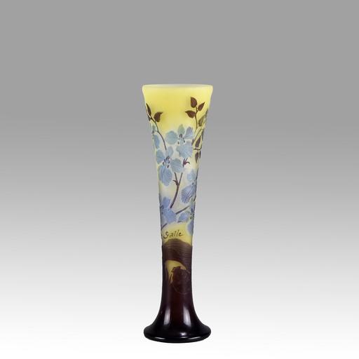 Émile GALLÉ - Art Nouveau Cameo Glass Slender Vase by Emile Galle