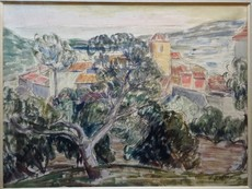 Léon DETROY - Drawing-Watercolor - Vue de SAINT-TROPEZ