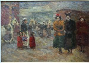 Louis HAYET - Painting - Scène de rue Parisienne, 1892/1894