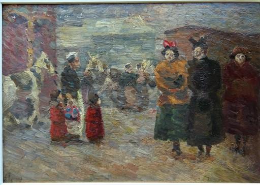 Louis HAYET - Gemälde - Scène de rue Parisienne, 1892/1894