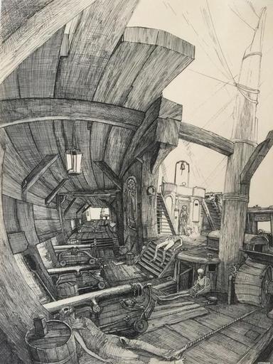 Philippe MOHLITZ - Dibujo Acuarela - La chanson du vieux marin