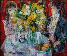 Emilio GRAU-SALA - Painting - INTERIEUR AUX FLEURS JAUNES