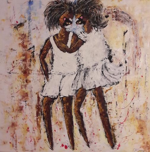 Christiane GUERRY - Painting - L'AMOUR EN TEMPS DE COVID