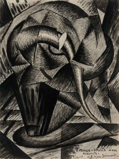 Félix Lucien Aimé DELMARLE - Dibujo Acuarela - Formes- bruits d'une marmite