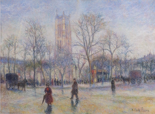 Hugues Claude PISSARRO - Disegno Acquarello - La Tour Saint-Jacques, Paris
