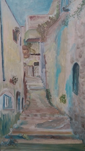 Sima BEN ARI - Painting -  An Alley in Seffat