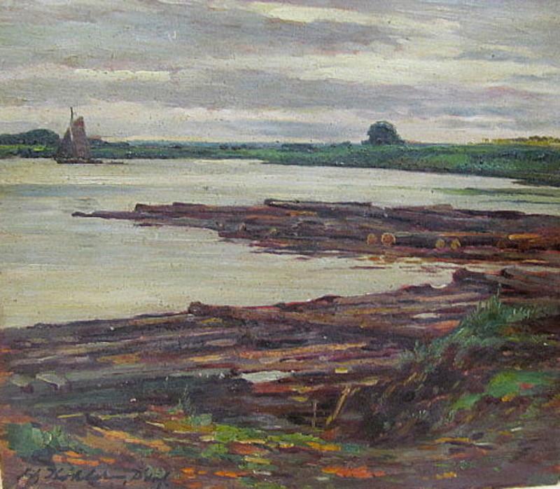Fritz KÖHLER - 绘画 - Landschaft am Niederrhein.