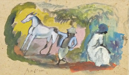 Jules PASCIN - Peinture - The Small Horse- Small Black Boy- Young Woman
