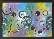 Oscar GAUTHIER - Pintura - Composition with Faces