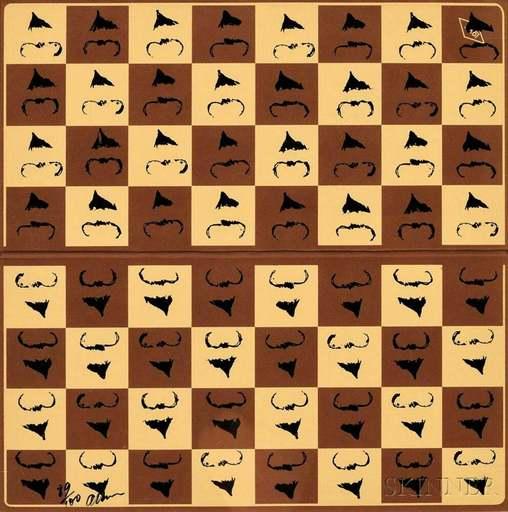 Fernandez ARMAN - Grabado - Chessboard in Hommage to Marcel Duchamp's L.H.O.O.Q.