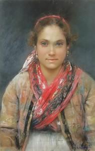 Vincenzo CAPRILE - Painting - RAGAZZA CON SCIALLE ROSSO