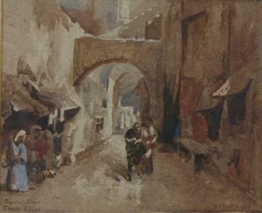 William Paton BURTON - Pittura - Marketplace in Tanta, Egypt