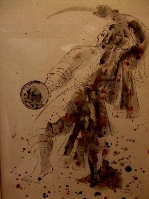 Reuven RUBIN - Drawing-Watercolor - Arab  threshing Wheat