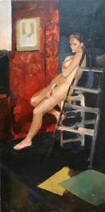 Christoff DEBUSSCHERE - Peinture - Nu à l'escabeau