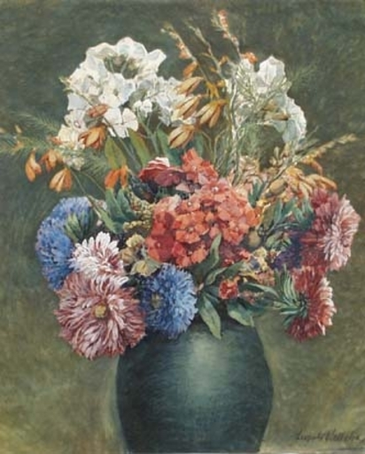 "Leopold WELLEBA - Zeichnung Aquarell - ""Flowers in Vase"" by Leopold Welleba, ca 1910"