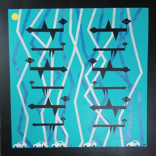 Harry BARTLETT FENNEY - Peinture - bird picture 3, concert on the grapevine