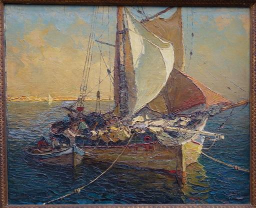 """Louis BONAMICI - Painting - """"Barques a l'ancrage"""""""