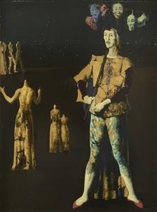 Marcel DELMOTTE - Pintura - Le marchand de masques