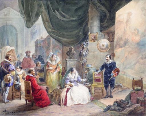 Cesare PROVAGGI - Drawing-Watercolor - MARIA DE MEDICI WITH RUBENS IN HIS STUDIO