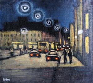 Valeriy NESTEROV - Painting - Sretenka street in the night. Moscow