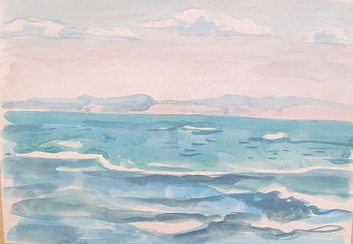Paul MECHLEN - Drawing-Watercolor - Küstenlandschaft am Meer.